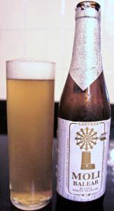 Moli Balear wheat beer, flavoured with coriander and bitter orange beer and brewed in Campanet, about six miles south-east of Alcuida. The label shows a typical Mallorcan windmill.