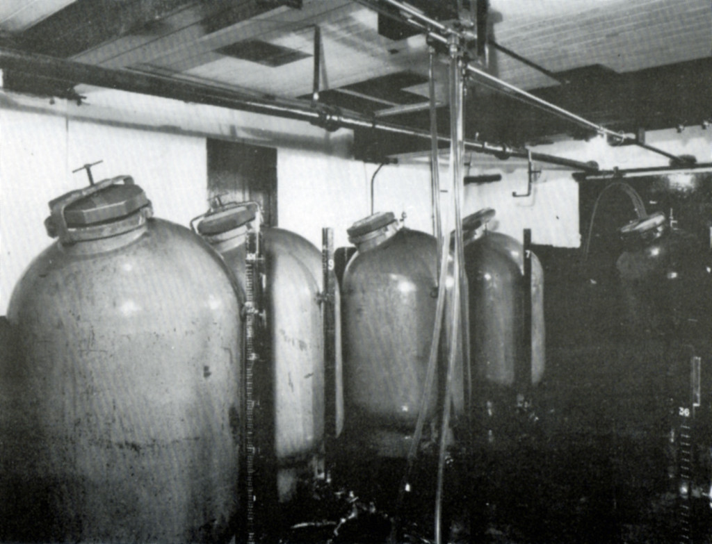 Large ceramic cellar tanks made by Royal Doulton in a Hull Brewery pub cellar