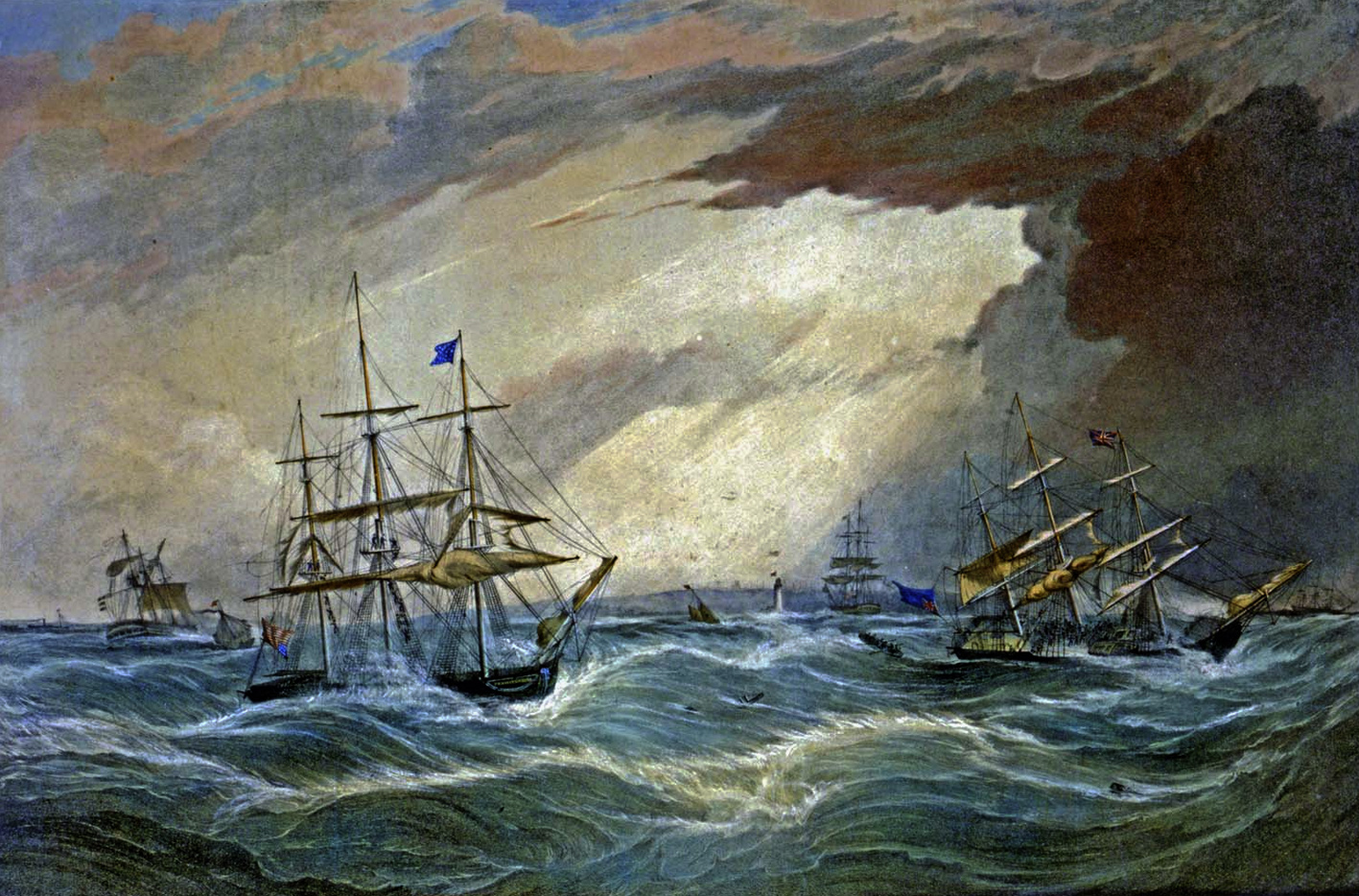 Ships off Liverpool in the Great Storm of 1839, painted by Samuel Walters.