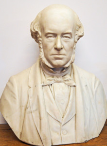 Marble bust of George Lorimer, founder of ther Caledonian brewery