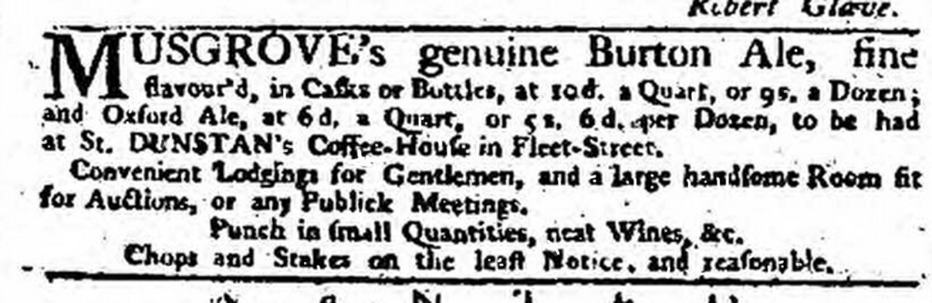 An advert for Musgrove's Burton Ale from the London Daily Advertiser of June 15 1751, one of the earliest ads featuring a named brewer from outside London