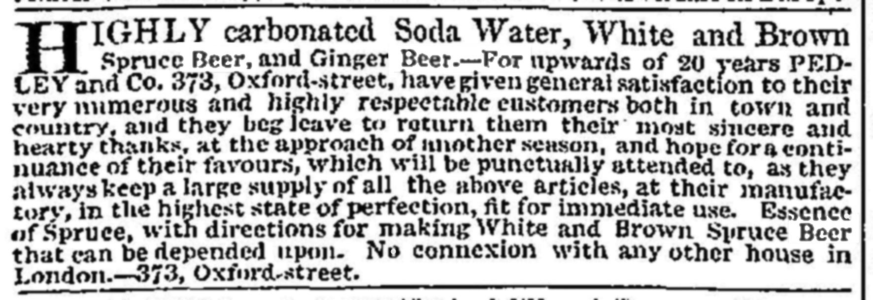 Pedley spruce beer 1819