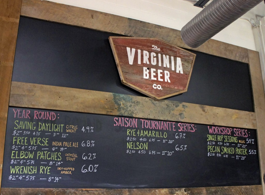 Ber menu at the Virginia Beer Company