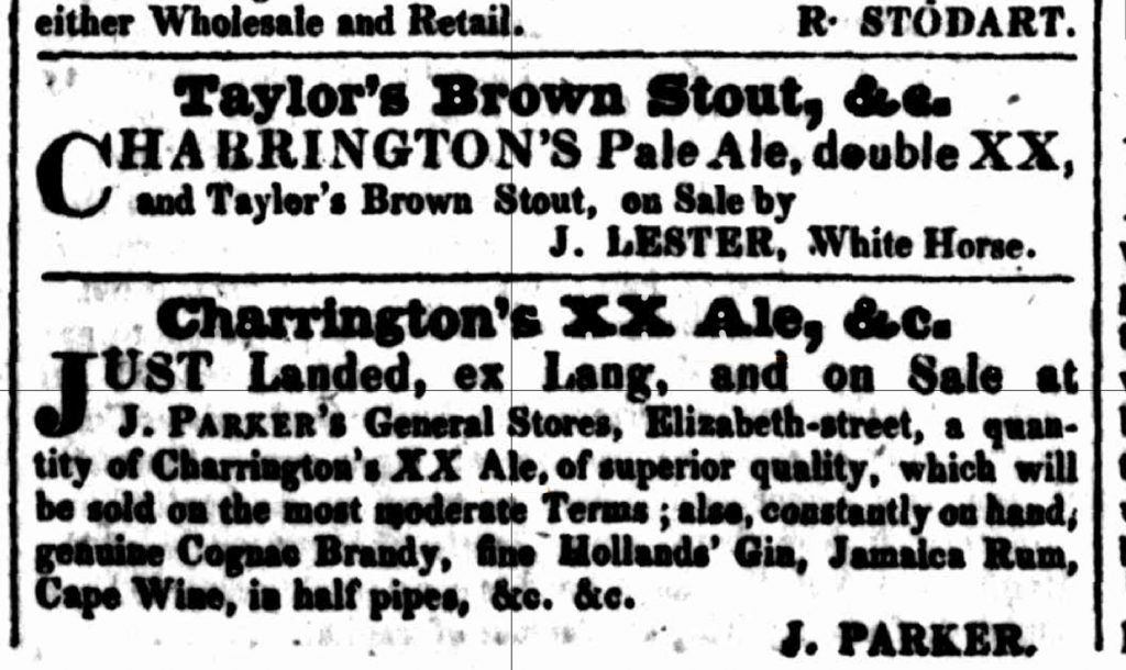 A couple of ads for Charrington's XX ale in 1829 this is pale ale in the earlier sense of a lightly hopped but strong pale malt liquor, not the heavily hopped India Pale Ale: these ads are actually from an Australian newspaper