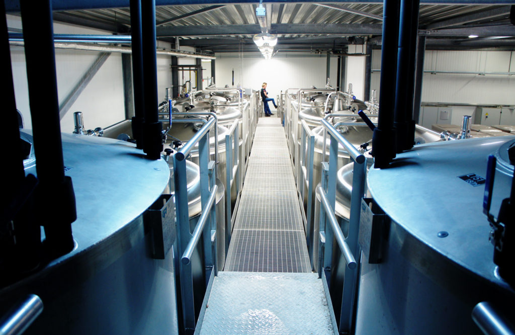 The positively spaceship-like interior of the Jopen brewery at Waarderpolder, Haarlem
