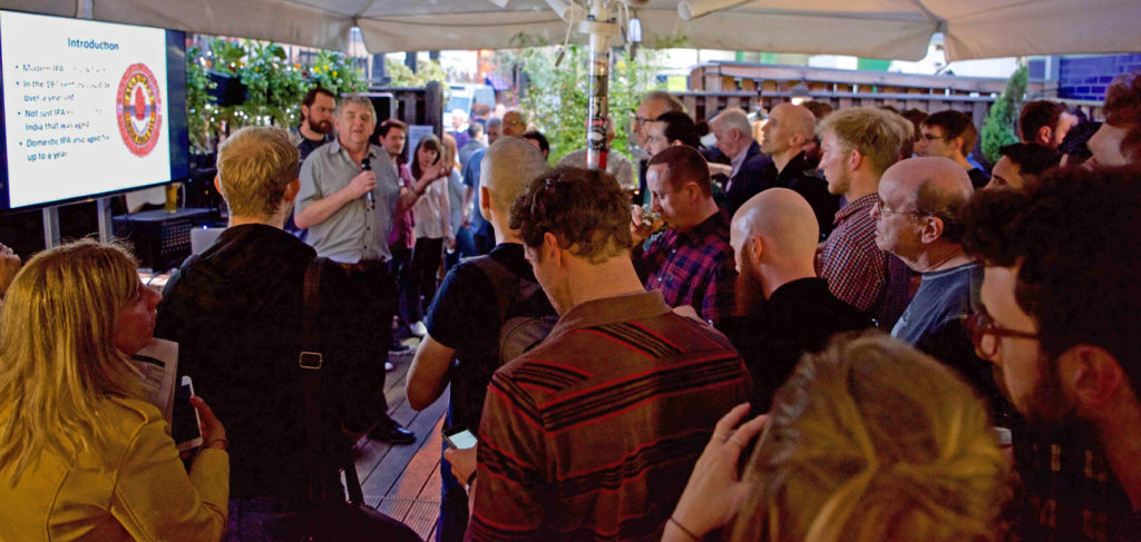 Ron Pattinson pontificates at the launch of Brewery Yard Stock Pale Ale in the Rake to an audience of geeks, bloggers, brewers and journos (none of those categories being exclusive …)