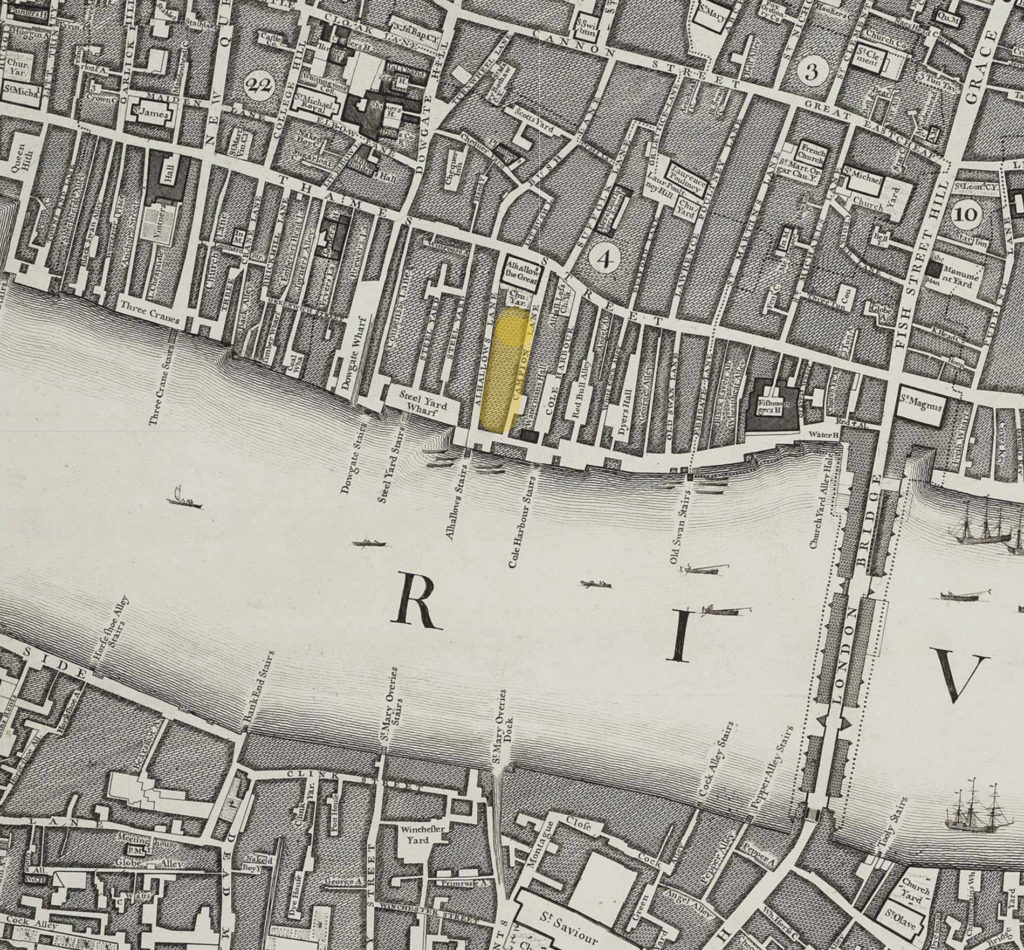 The site of the Hour Glass brewhouse marked in yellow, on a map of 1746